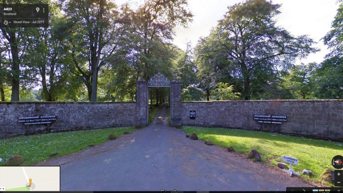 Drummond Castle Gardens entrance
