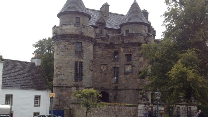 Outside Falkland Castle